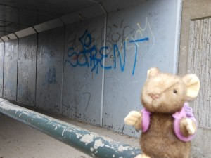 Mousie with graffiti